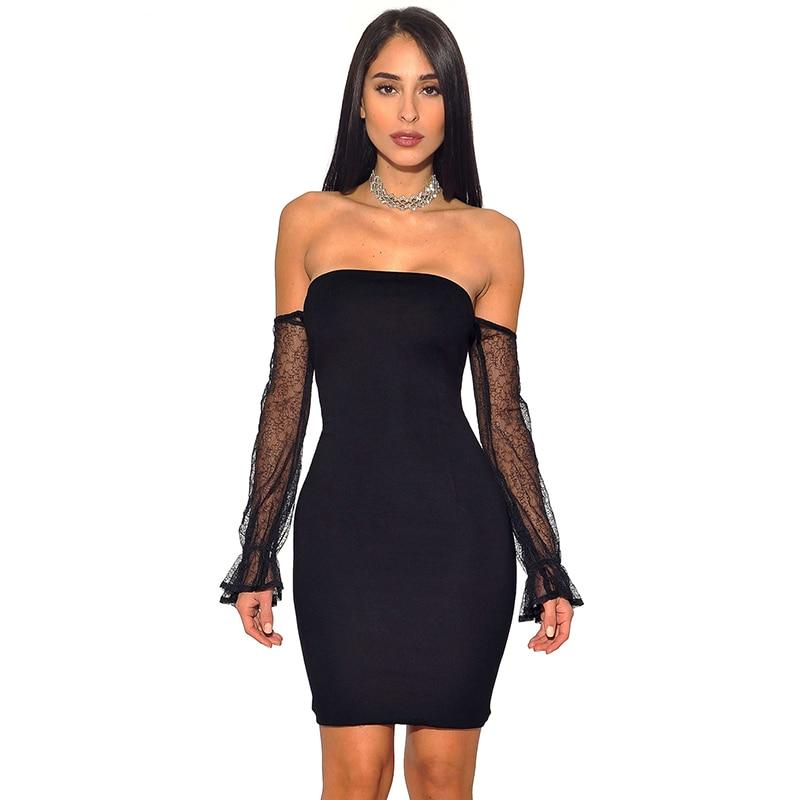 2018 Для женщин осень пикантные черные сапоги без бретелек сетки платье клуба с плеча рукав стрейч повязку мини платье