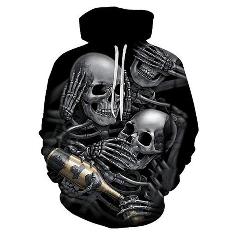 Cloudstyle Mens 3D Hoodies Print Many Metal Skulls Beer Funny Design Harajuku Black Pullovers Male Streetwear Tracksuits Hoodie