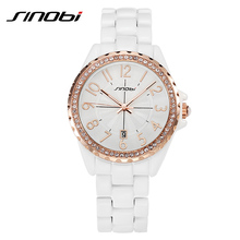 SINOBI Ceramic Watch Girls Rhinestone Women Watch Gold Bezel Date Couple Watches for Lovers New with Tags Relojes