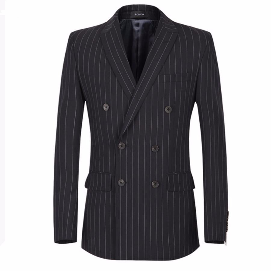 5.1 Men\'s fashion leisure jacket handsome man double-breasted coat stripe friends party custom-make lapels men blazer