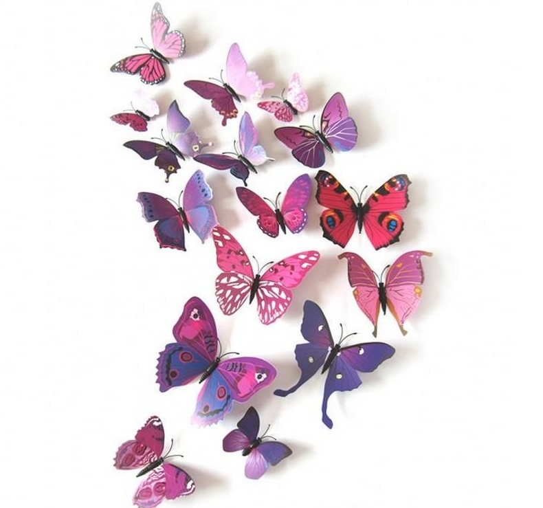 цена на Cartoon butterfly Wall Stickers paper Nursery Kids Room Home Decor Paste on the wall or window stickers free shipping in stock