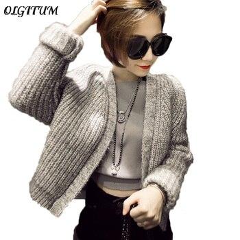 2019 Women Coarse Wool Cardigan Open Stitch Vintage Knitted Coat Casual Soft Handel Autumn Winter Knitted Outwear IP066
