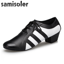 Samisoler Black White Men's Black leather ballroom dance shoes Flats Modern dance shoes Tango Party Wedding Square dance shoes free shipping rhinestone shine crystal dance shoes high heel dance party shoes black tango dance shoes