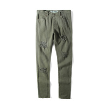 16SS OFF-WHITE   MENS GREEN COATED JEANS  GREEN BUTTON AND ZIP CLOSURE FIVE POCKETS CROPPED