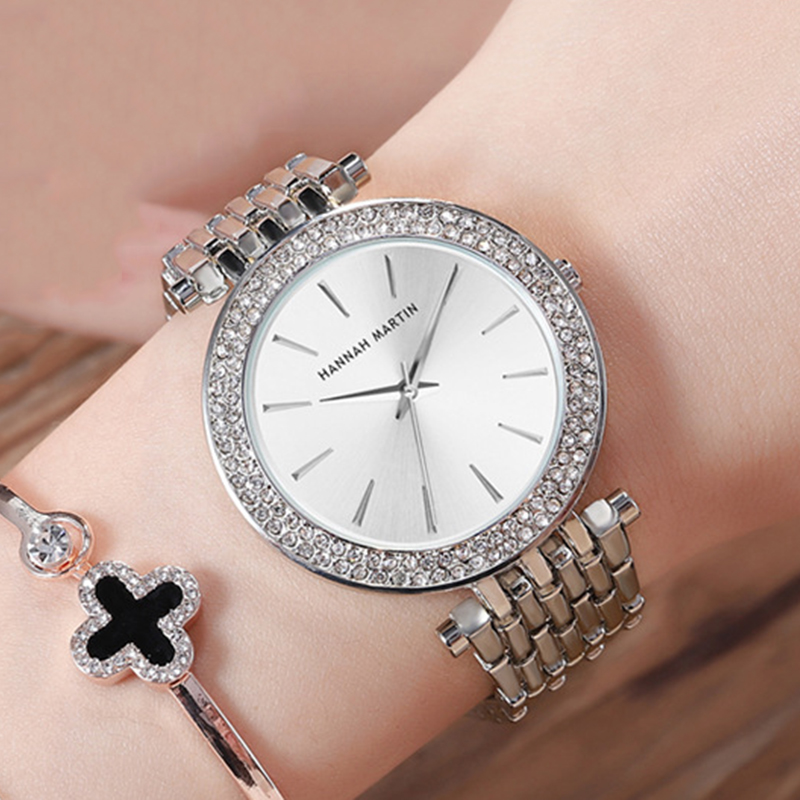Women Bracelet Clock Wrist-Watches Rhinestone Diamond Silver Female Ladies Luxury Brand title=