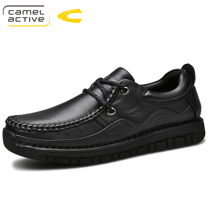 Camel Active New Men Casual Shoes Genuine Leather Men Shoes Lace-up Breathable Soft Autumn Casual Flats Formal Shoes Plus Size