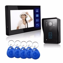 "High Tech 7"" Video Door Phone Doorbell Intercom Touch button 6-core cable IR Camera Monitor Electric Strike Lock RFID Keyfobs"