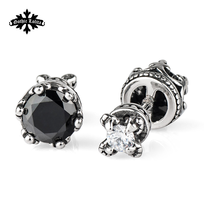 Vintage two-sided dragon claw and black zircon Crystal for women men stainless steel statement earrings