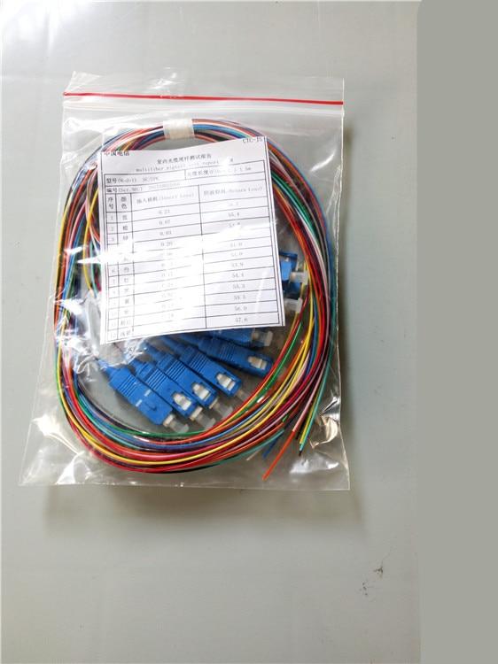 Free Shipping 2pcs/lot 12 Cores 12F SC UPC 1.5M Singlemode SC/UPC Fiber Optic Pigtail