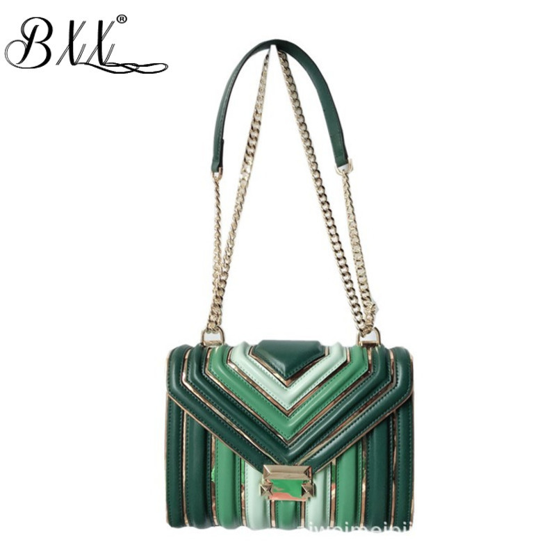 BXX Sac / 2019 Fashion Luxury Handbags Women Designer Leather Chain Lingge One shoulder Slung Hit Color Small Square Bag ZC740-in Shoulder Bags from Luggage & Bags    1