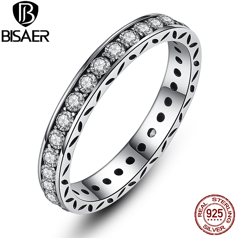Simple Style Classic Round Shape Crystals Original 925 Sterling Silver Finger Ring Authentic Jewelry WEU7119