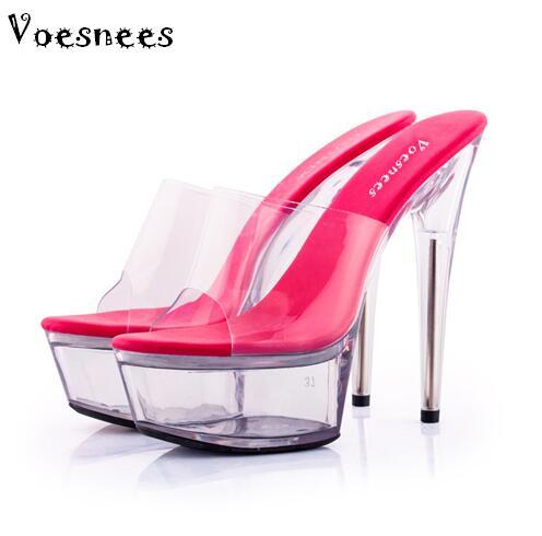 Zapatos Sandalias de plataforma de mujer 2018 tacones de cristal  transparentes 15 cm color fluorescente moda muestra zapatillas grandes  sexis 34 44 en ... dabbbbbc185e