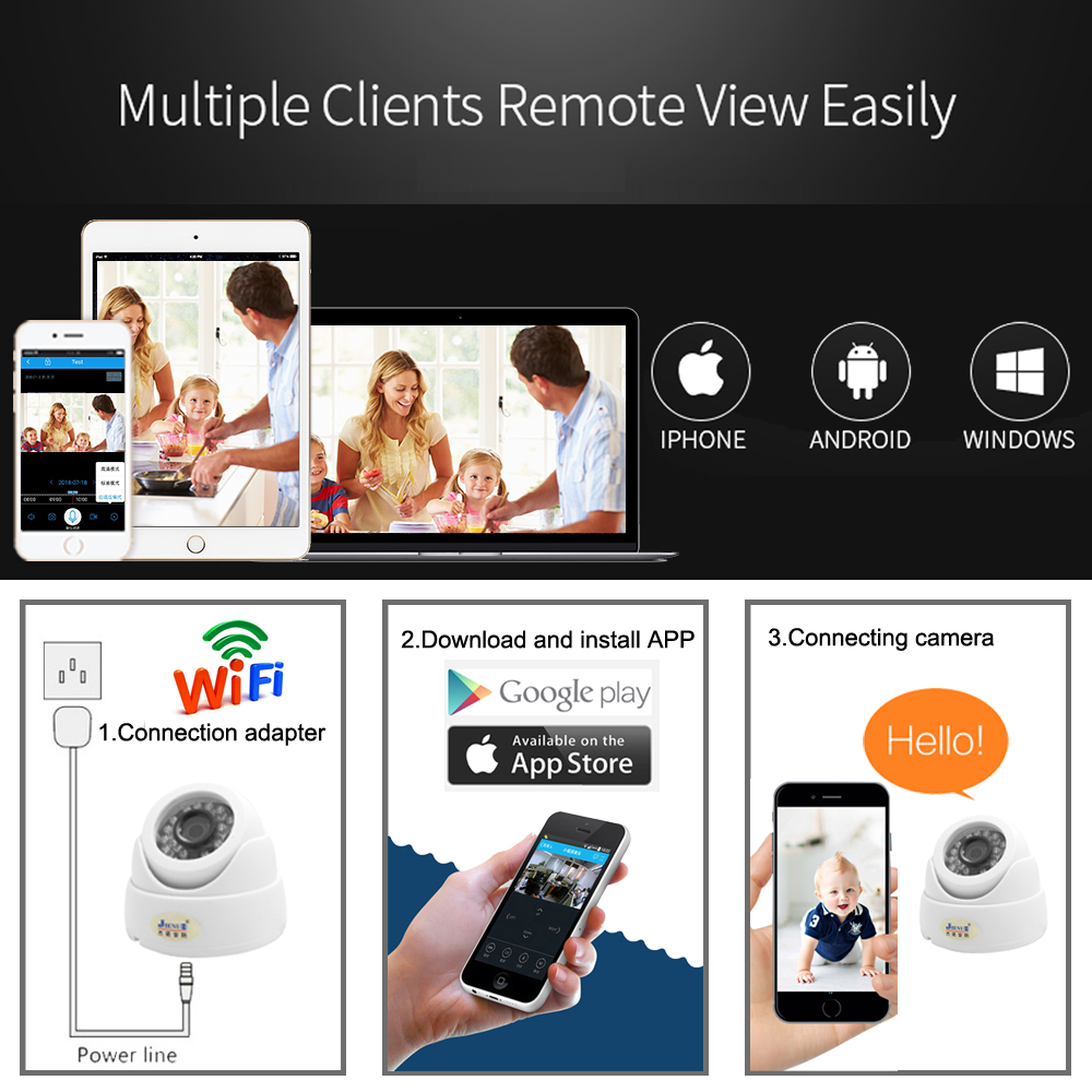 Image 5 - JIENUO Wifi Camera Ip 1080P 960P 720P Cctv Surveillance Video Security Wireless Audio IPCam Indoor Cam Infrared Dome Home CameraSurveillance Cameras   -