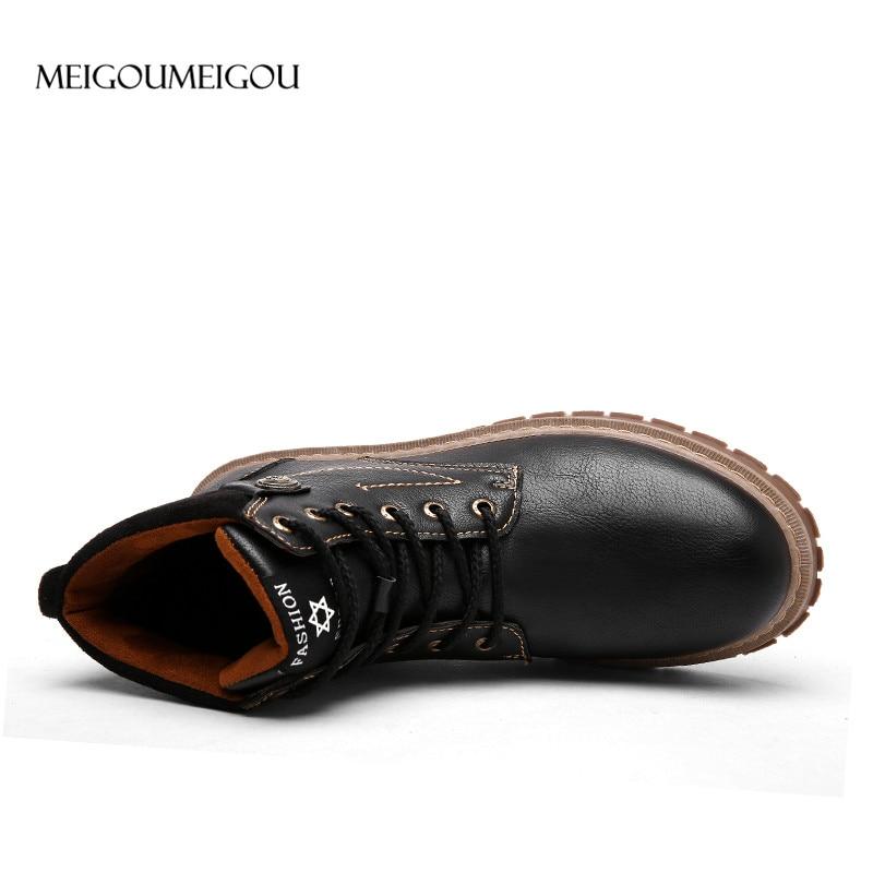 Main Hommes gris La Faits Meigoumeigou Nouveau 2018 À Martin Bottes Cheville En Étanche Design Mode Noir Cuir Coudre marron Casual TKlc1JF3