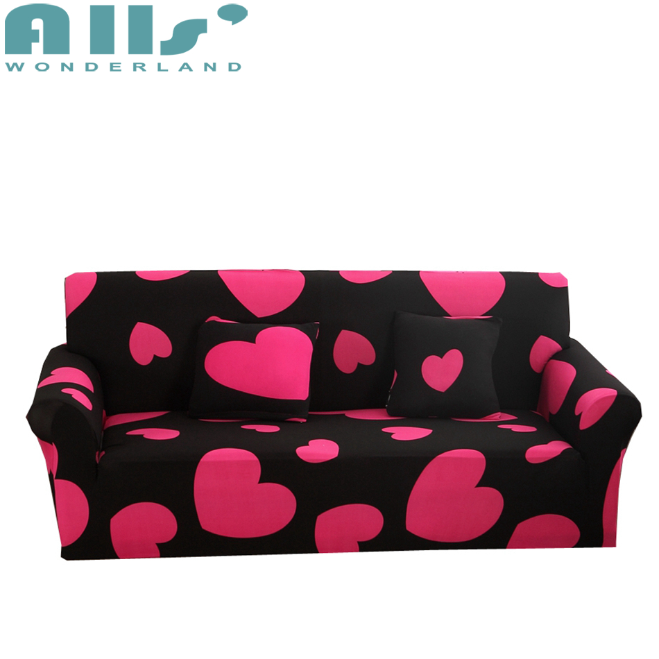Black stretch sofa cover with pink heart pattern polyester