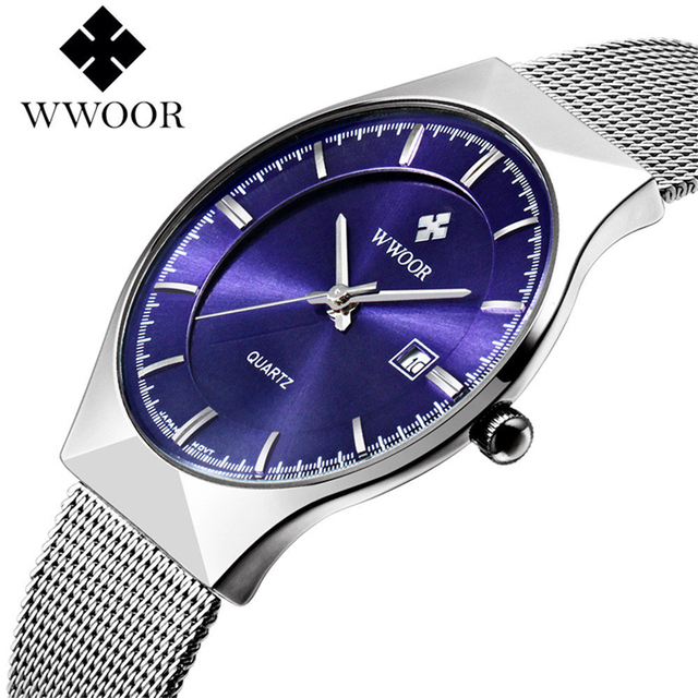 WWOOR أفضل العلامة التجارية الرجال الساعات الفاخرة شبكة معدنية حزام ساعة كوارتز رقيقة جدا موضة الرجال الرياضة مقاوم للماء ساعة Relogio Masculino