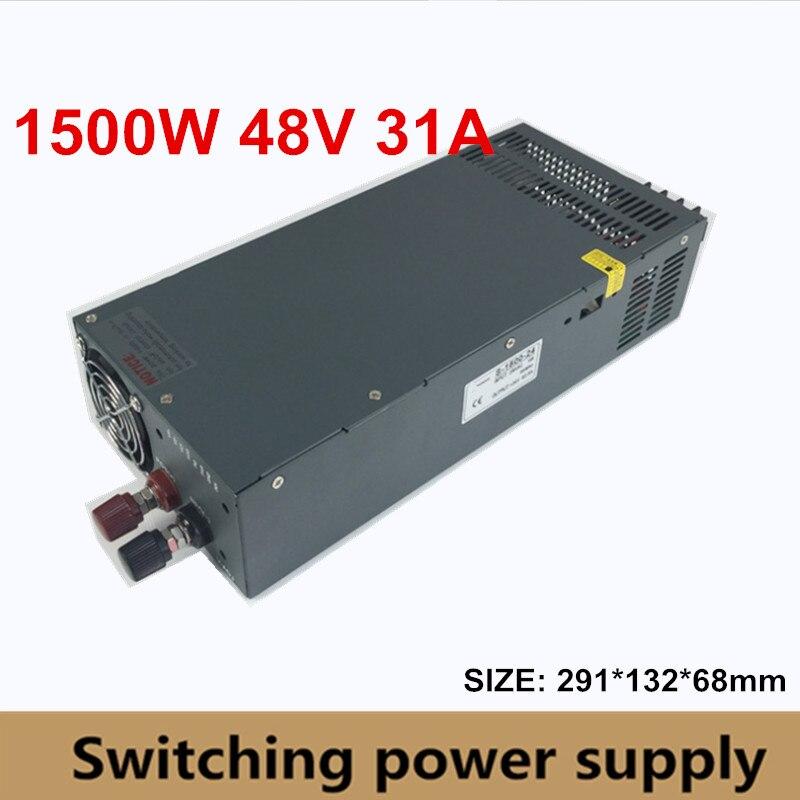 Регулируемый DC 48 В 31A 1500 Вт импульсный источник питания драйвера Transformer 110 В 220 В AC DC48V SMPS для шагового CNC CCTV 3D принтера
