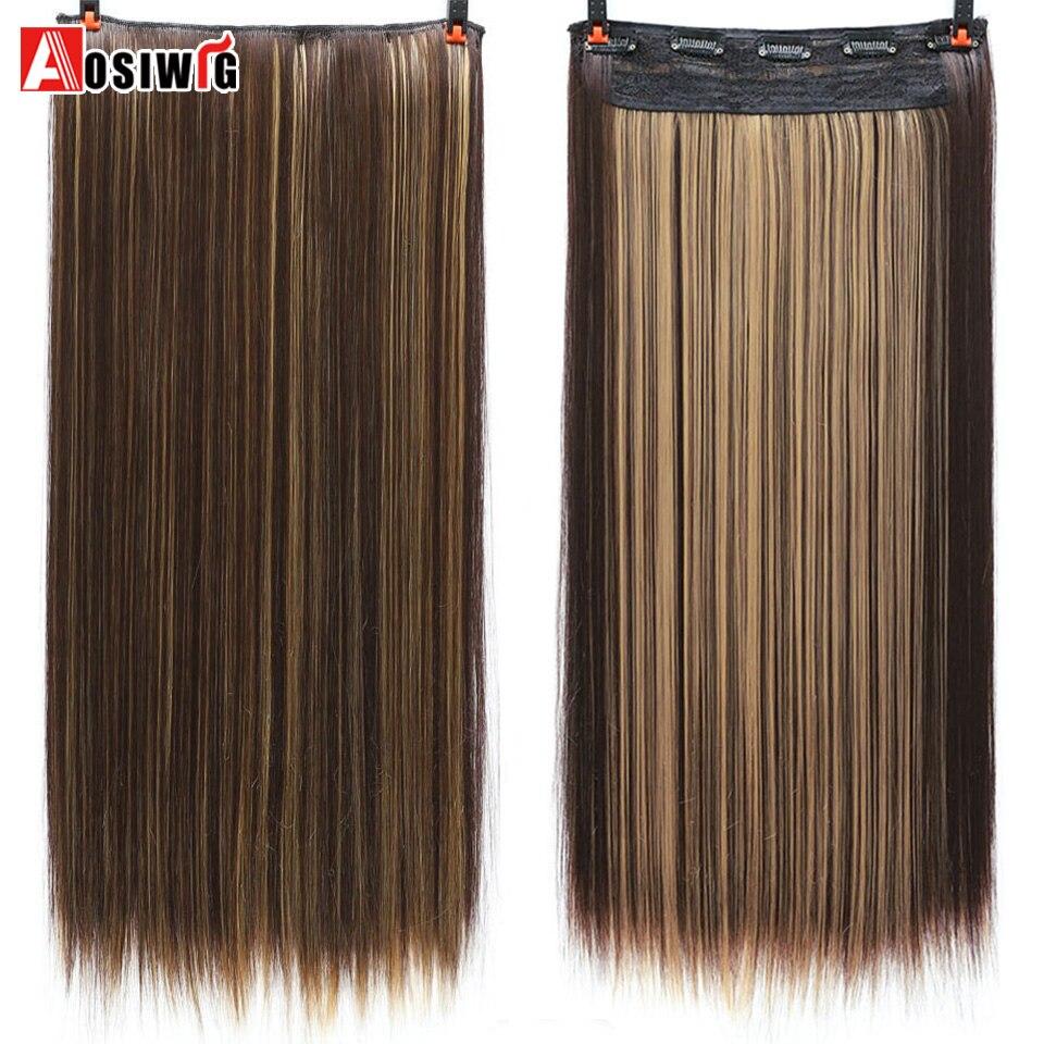 AOSIWIG Long Straight Hair Extensions 5 κλιπ σε ψεύτικο - Συνθετικά μαλλιά - Φωτογραφία 1