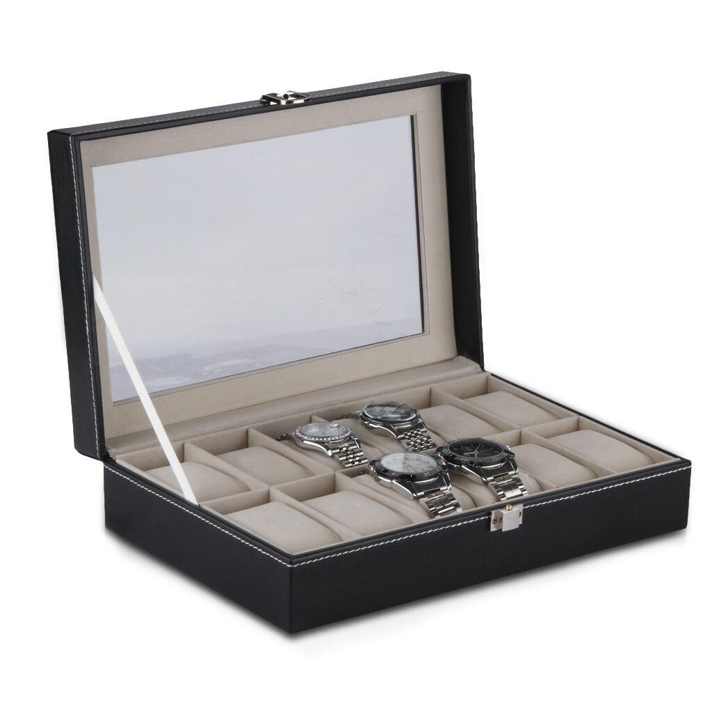 12 Grid Watch Display Case Wrist Watch Storage Box Jewelry Storage Organizer 80 grid jewelry hanging storage bag