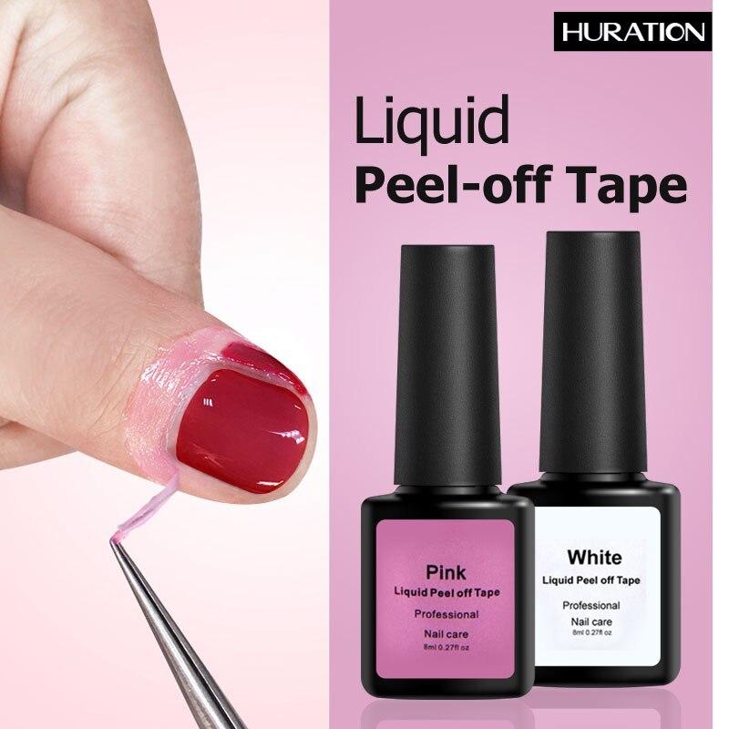 Huration Peel Off Pink White Latex Liquid Protection Finger Skin Tape Defender Cuticle Tape Easy Coat 8ML Nail Art Gel Varnish
