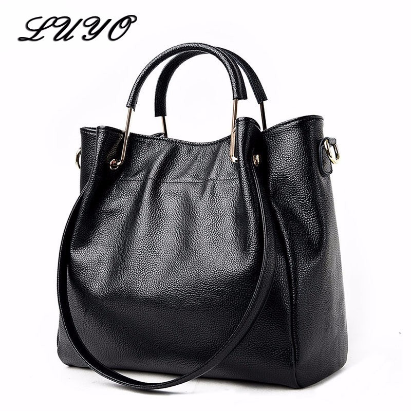 LUYO Brand Genuine Leather Bags Female High Quality Sheepskin Luxury Handbags Designer  Women Shoulder Bags Ladies Top-handle luyo famous brands genuine leather luxury handbags women shoulder top handle bags female designer high quality tote bag neutral