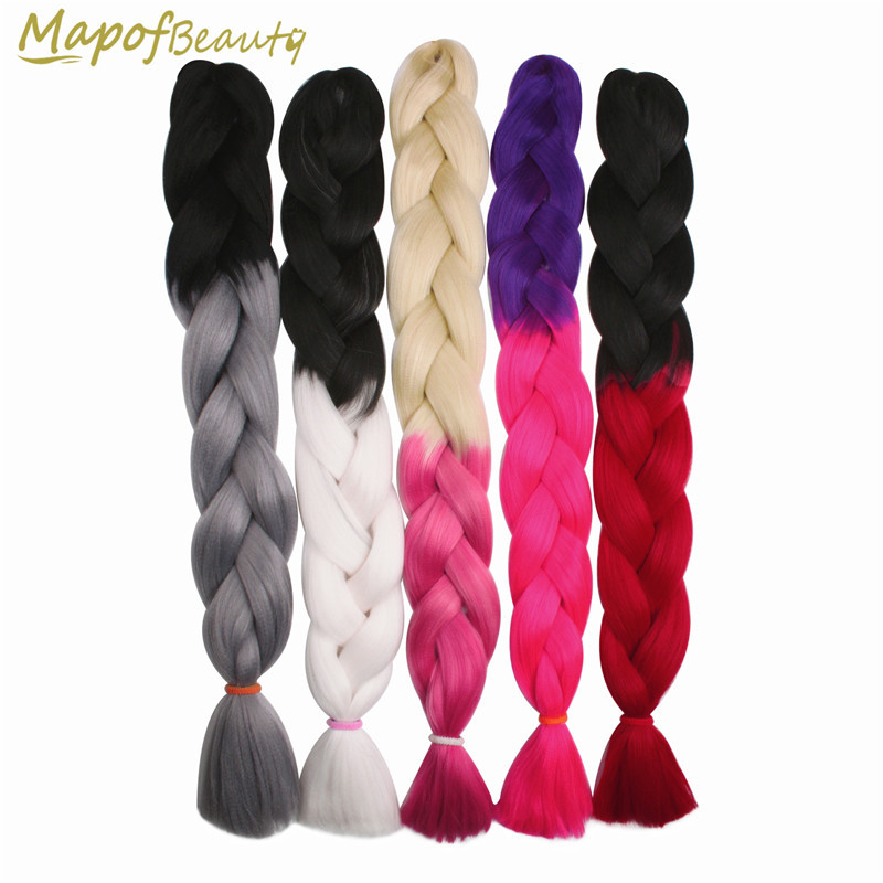 Hair Braids Ombre Jumbo Braiding 32 100g/pc Kanekalon Hair Crochet Braids Blonde Hair Extensions Synthetic False Hairstyles Mapofbeauty