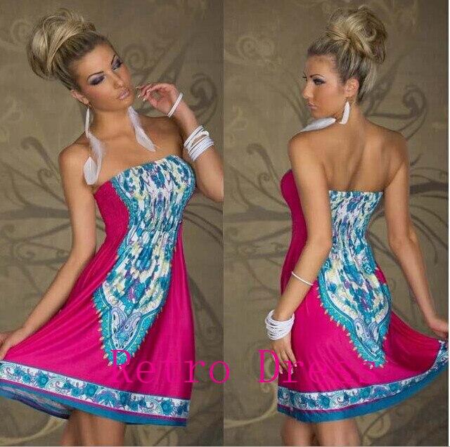 Fashion Retro 1960s 1970s Vintage Paisley Print Strapless Hippie Bohemian Summer Dress Women Beach Dress