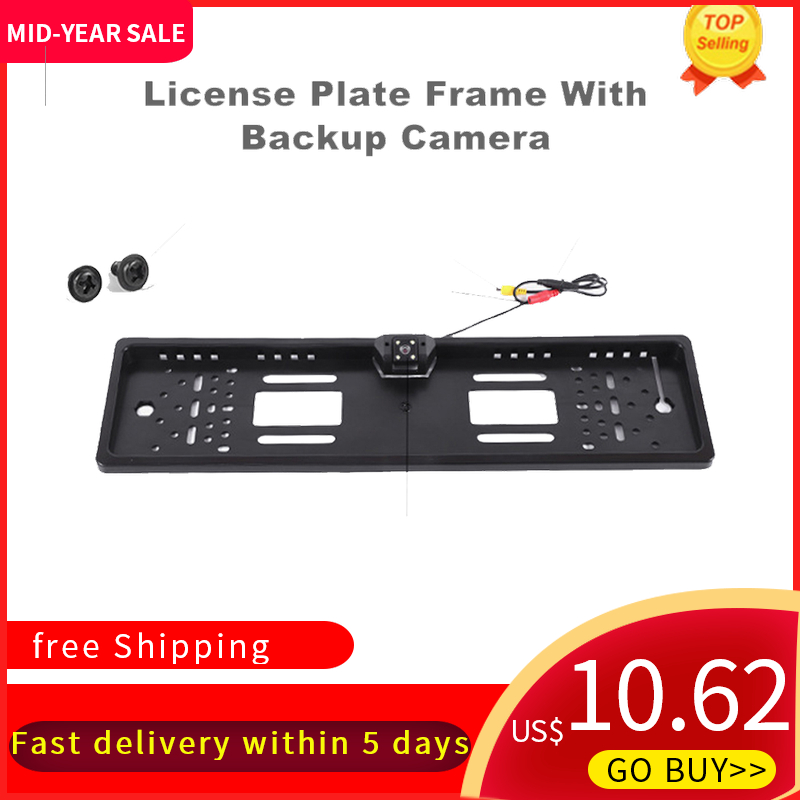 KKMOON Universal Car License Plate Frame LED  Backup  Rear View Camera CCD HD Reversing Camera Night Vision Auto Product