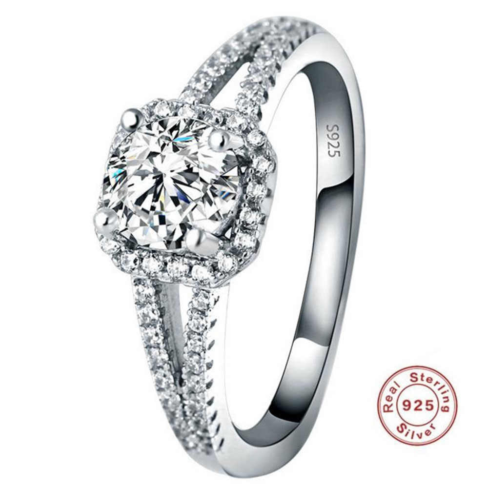 YKNRBPH Hot Selling S925 Sterling Silver Diamond Ring Women's Wedding Zircon Fine Jewelry Rings