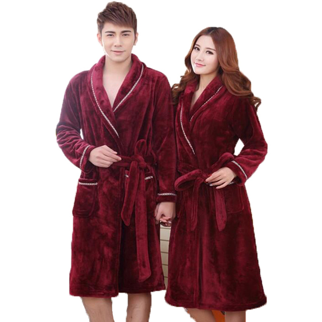 349560a343c Nighte Women s Gowns Winter Thermal Long Bathrobe Thick Flannel Warm Kimono  Bath Robe Couple Dressing Gown