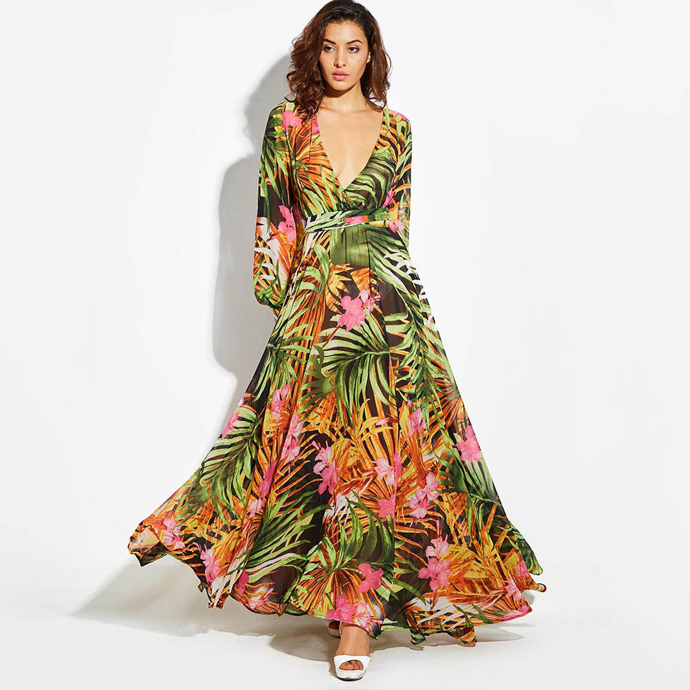 52403046a71 Vintacy Long Sleeve Dress Green Tropical Beach Vintage Maxi Dresses Boho  Casual V Neck Belt Lace Up Tunic Draped Plus Size Dress - MISS LADIES