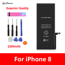 QrxPower Superior Quality Replacement Li-ion Battery Real Capacity 2200mAh With Tools for iphone 8 0 Cycle 1 year warranty