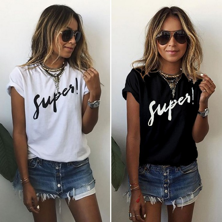 T Shirt Women Tshirt 2019 Summer Style Europe Short Sleeve Fashion Supes Letter Print T-shirt Vestidos Dropshipping NVTX33