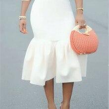 Женская белая облегающая юбка-Русалка с завышенной талией, тонкая, с оборками, посылка, облегающая, стильная, Saias Jupes Falads, элегантная, офисная, рабочая одежда