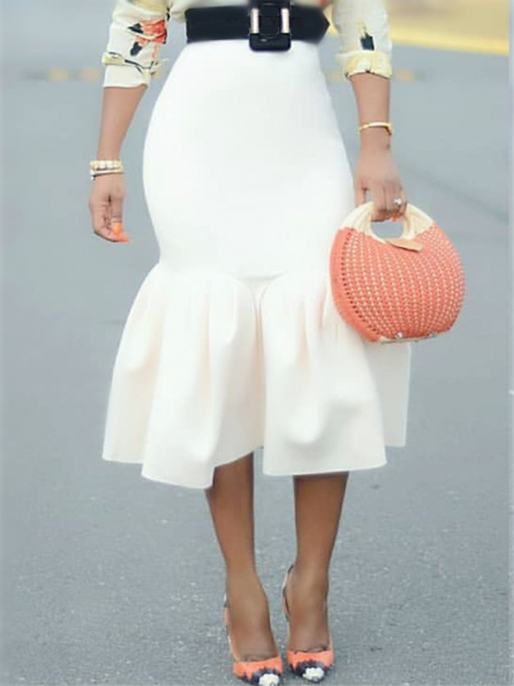 Women White Bodycon Mermaid Skirt High Waist Slim Ruffles Package Hip Tight Classy Saias Jupes Falads Elegant Office Work Wear