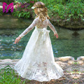 Girl Lace Long Dress With Sweet Flower For Age 3-8 Baby Kids Princess Wedding Prom Party White/ Cream Big Bow Long Sleeved Dress