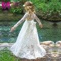 Rendas menina vestido longo com sweet flor para 3-8 anos de bebê crianças de Casamento Da Princesa Festa de Formatura Branco/Creme Grande Arco de Manga Comprida vestido