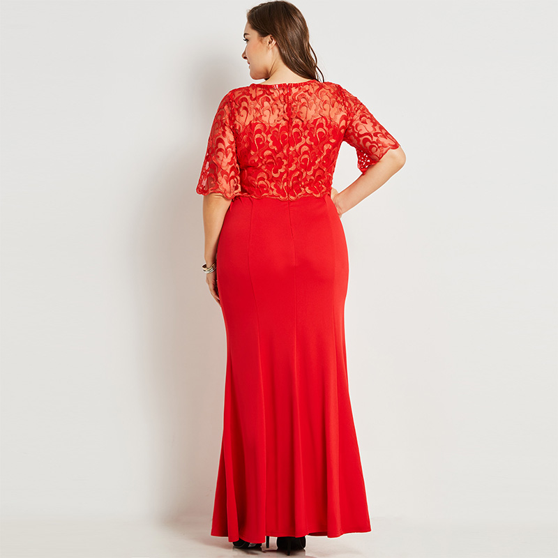 c9f150d1a فستان سهرة طويل باللون الأحمر المثير ذو مقاس كبير من الشيفون والدانتيل  الأنيق