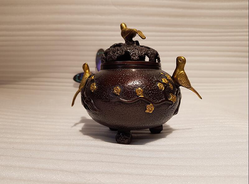 Vintage Chinese style bronze bird incense burner decoration (7)