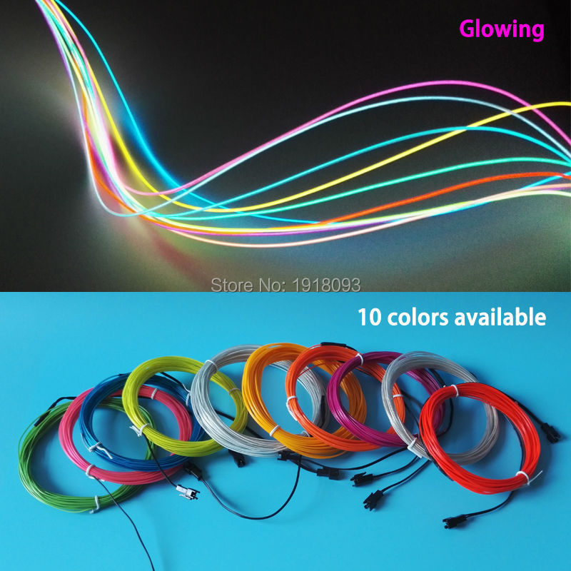 Cheap! 2017 New 1.3mm 1M 5pieces 10 color Optional Trendy EL wire Glowing flexible EL neon light Holiday Lighting toys