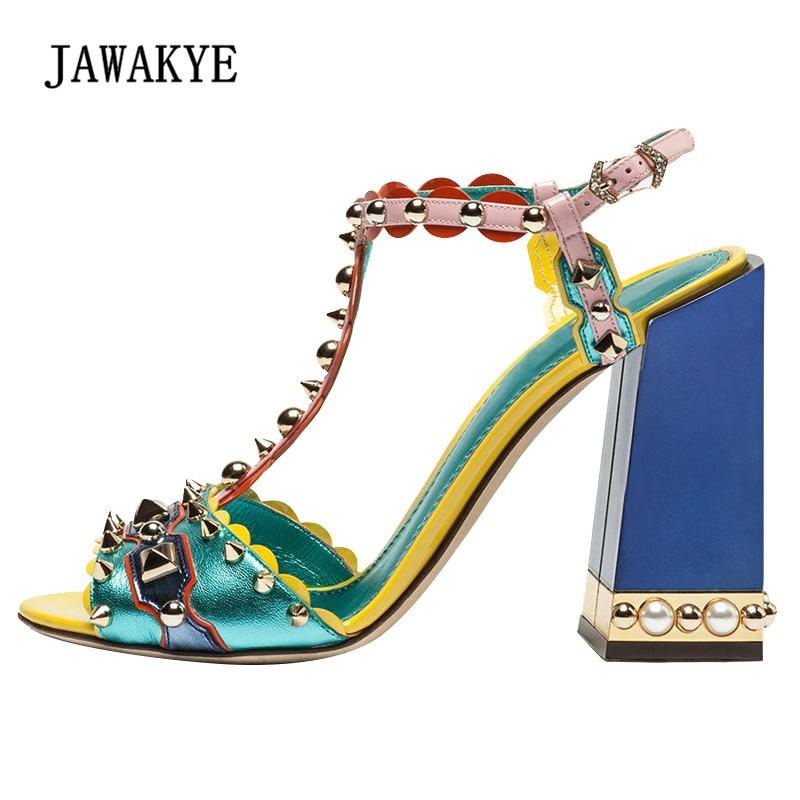 2018 ретро заклепки Римские сандалии Для женщин открытый носок смешанные Цвет лоскутное жемчужина Обувь на высоких каблуках женские туфли на