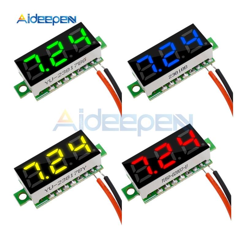 Super Mini 0.28 Inch DC 2.5V-30V Digital Red Green Blue Yellow LED Car Voltmeter Voltage Tester Volt Panel Meter Battery Monitor