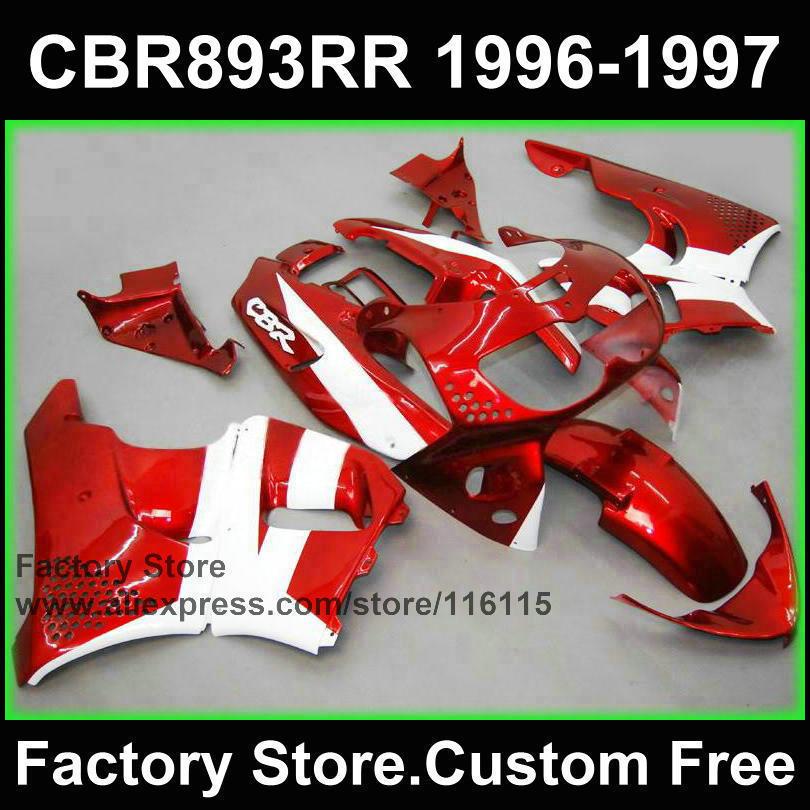 Pièces de carénage d'usine ABS pour HONDA CBR900RR 96 97 CBR 893RR 1996 1997 carénages de moto rouge blanc CBR 893