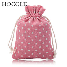 HOCOLE 5Pcs/Lot 10*14cm Handmade Flower Leaf Star Design Cloth Jewelry Bags Linen Drawstring Pouch Bag for Gift Christmas Candy