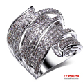 DC1989 Hot Selling Cocktail Ring Women Deluxe Finger Rings Cubic Zirconia Gold Rhodium Plated Lead Free Bridal Wedding Jewelry