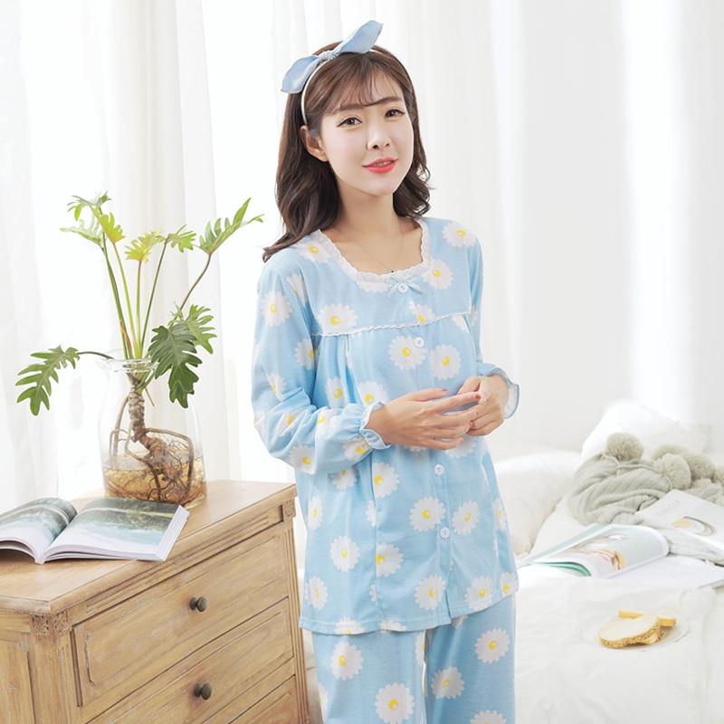 2018 spring cotton long sleeve nursing clothes nursing pajamas pregnant pyjama breastfeeding pregnancy nightgrown warm homewear