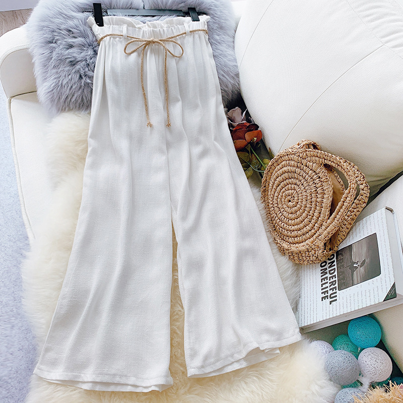 2019 New Arrival Summer   Pants   Women Ankle-Length Linen Trousers High Waist Loose   Wide     Leg     Pants   Sweet Tie   Pants   Ladies Breeches