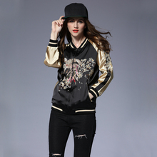High street fashion women baseball bomber jacket bird of wonder floral Embroidered cardigan coats gold patchwork Outwear OM769