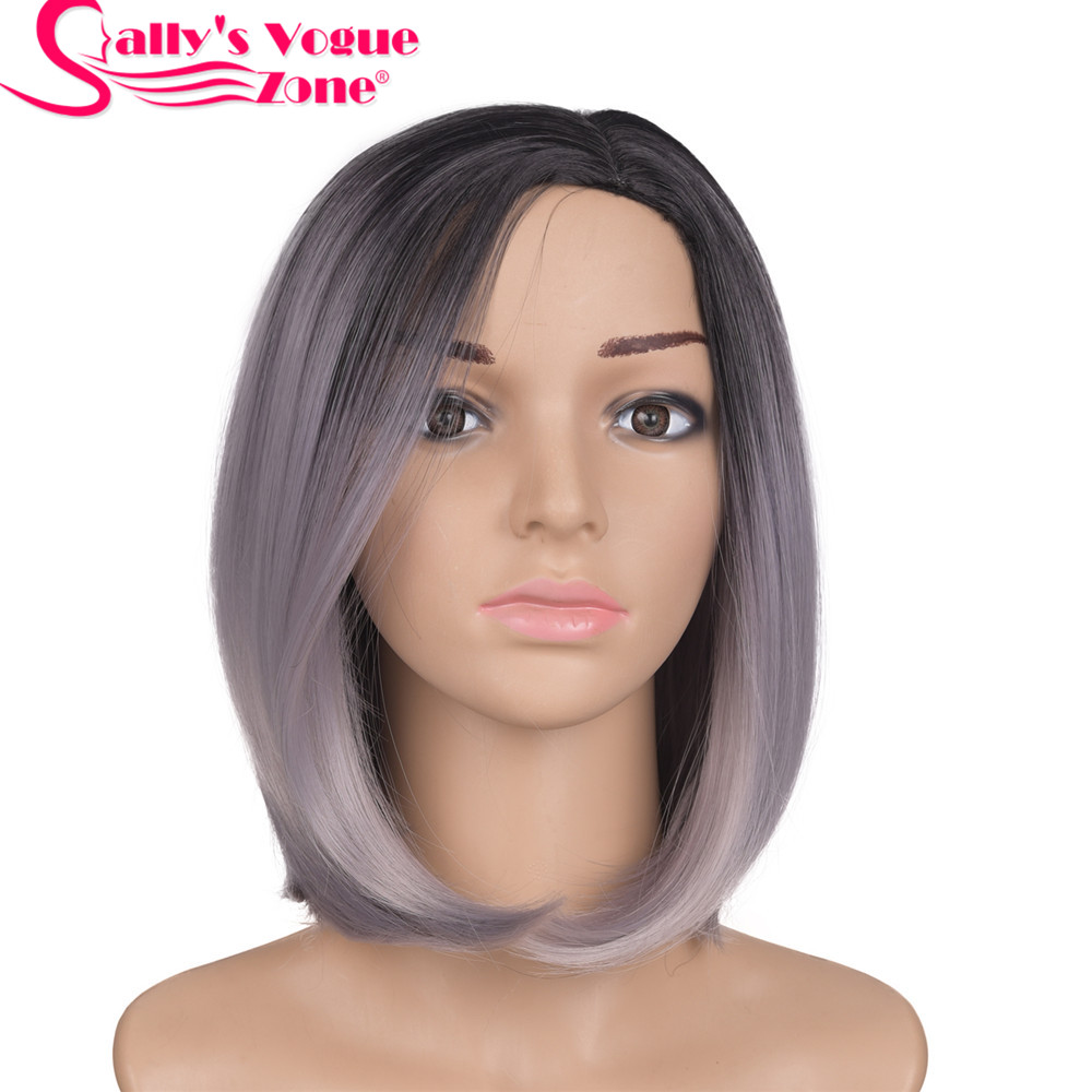 Sallyhair 12inch Japanese High Temperature Fiber Short Ombre Black Light Grey Color Bob Wigs Synthetic Centre Part