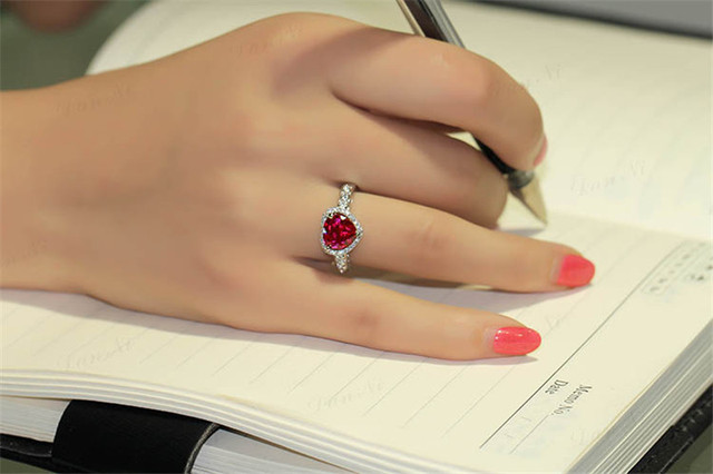 Red Ruby Heart Shape Gemstone Sterling 925 Silver Wedding Rings For Women Bridal Fine Jewelry Engagement Bague Accessories 1